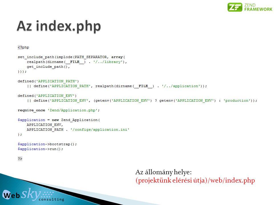 Az állomány helye: (projektünk elérési útja)/web/index.php