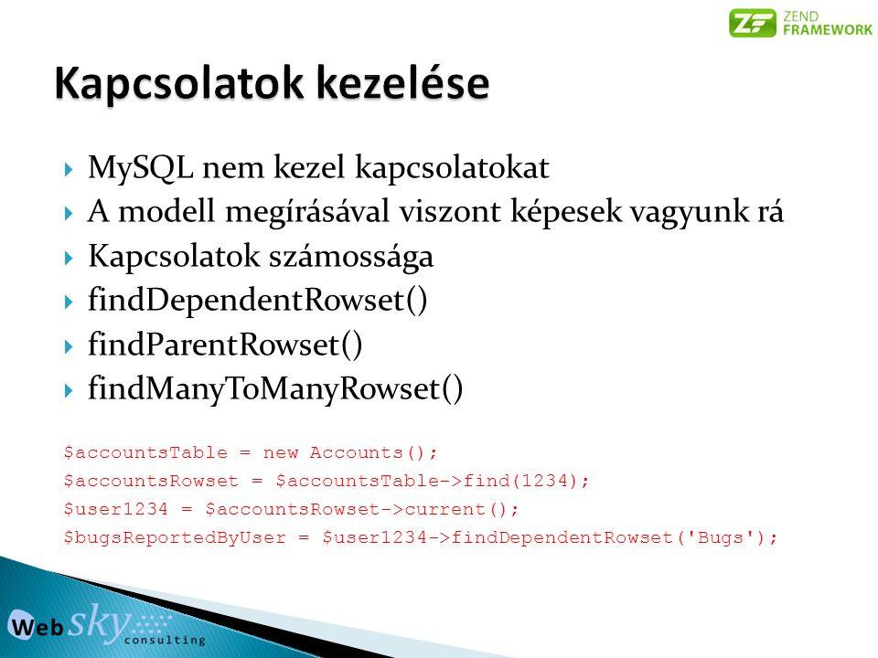  MySQL nem kezel kapcsolatokat  A modell megírásával viszont képesek vagyunk rá  Kapcsolatok számossága  findDependentRowset()  findParentRowset()  findManyToManyRowset() $accountsTable = new Accounts(); $accountsRowset = $accountsTable->find(1234); $user1234 = $accountsRowset->current(); $bugsReportedByUser = $user1234->findDependentRowset( Bugs );
