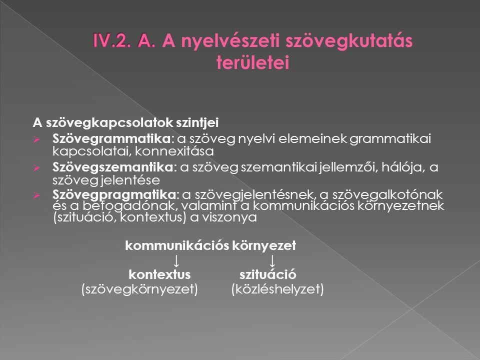 A szövegkapcsolatok szintjei  Szövegrammatika : a szöveg nyelvi elemeinek grammatikai kapcsolatai, konnexitása  Szövegszemantika : a szöveg szemanti