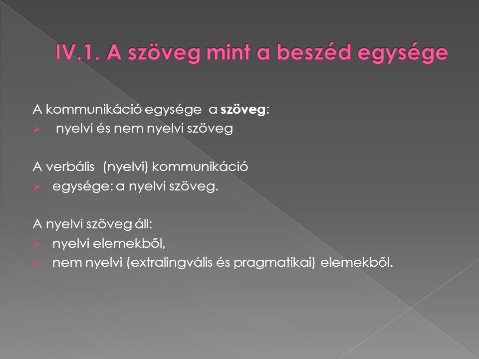 A kommunikáció egysége a szöveg :  nyelvi és nem nyelvi szöveg A verbális (nyelvi) kommunikáció  egysége: a nyelvi szöveg. A nyelvi szöveg áll:  ny