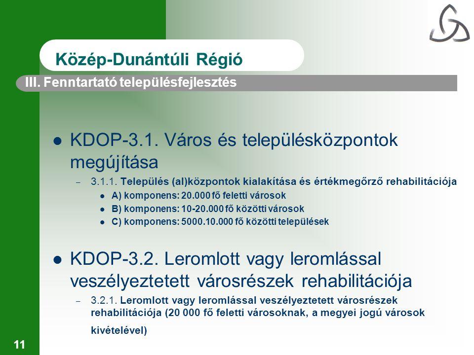 11 III. Fenntartató településfejlesztés Közép-Dunántúli Régió KDOP-3.1. Város és településközpontok megújítása – 3.1.1. Település (al)központok kialak
