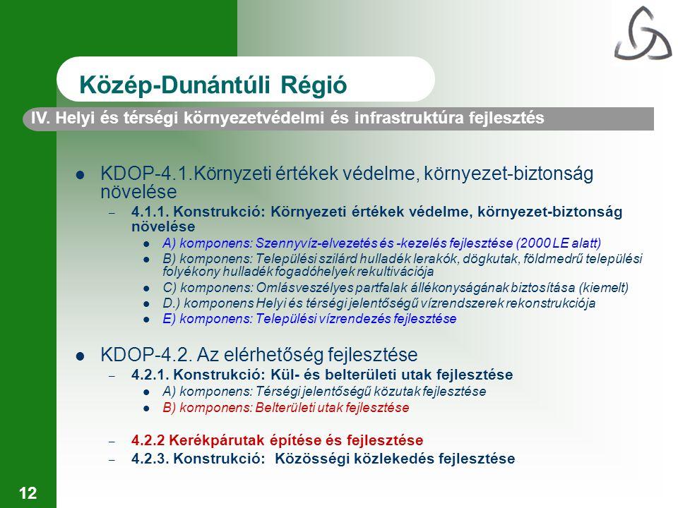 12 IV. Helyi és térségi környezetvédelmi és infrastruktúra fejlesztés Közép-Dunántúli Régió KDOP-4.1.Környzeti értékek védelme, környezet-biztonság nö