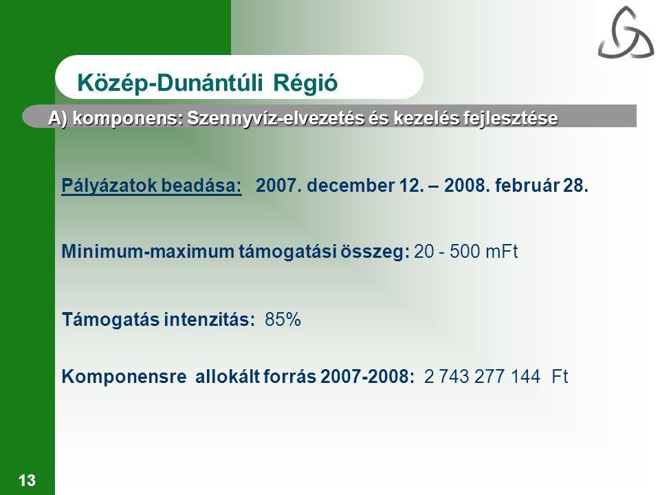 13 Közép-Dunántúli Régió Pályázatok beadása: 2007. december 12. – 2008. február 28. Minimum-maximum támogatási összeg: 20 - 500 mFt Komponensre alloká