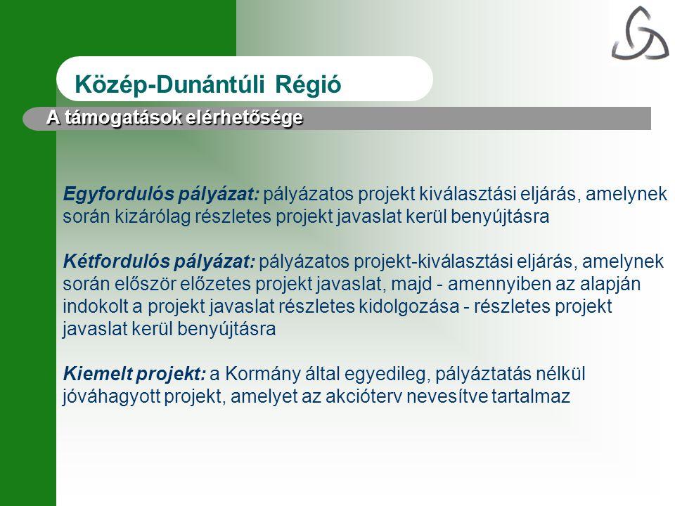 Közép-Dunántúli Régió Egyfordulós pályázat: pályázatos projekt kiválasztási eljárás, amelynek során kizárólag részletes projekt javaslat kerül benyújt