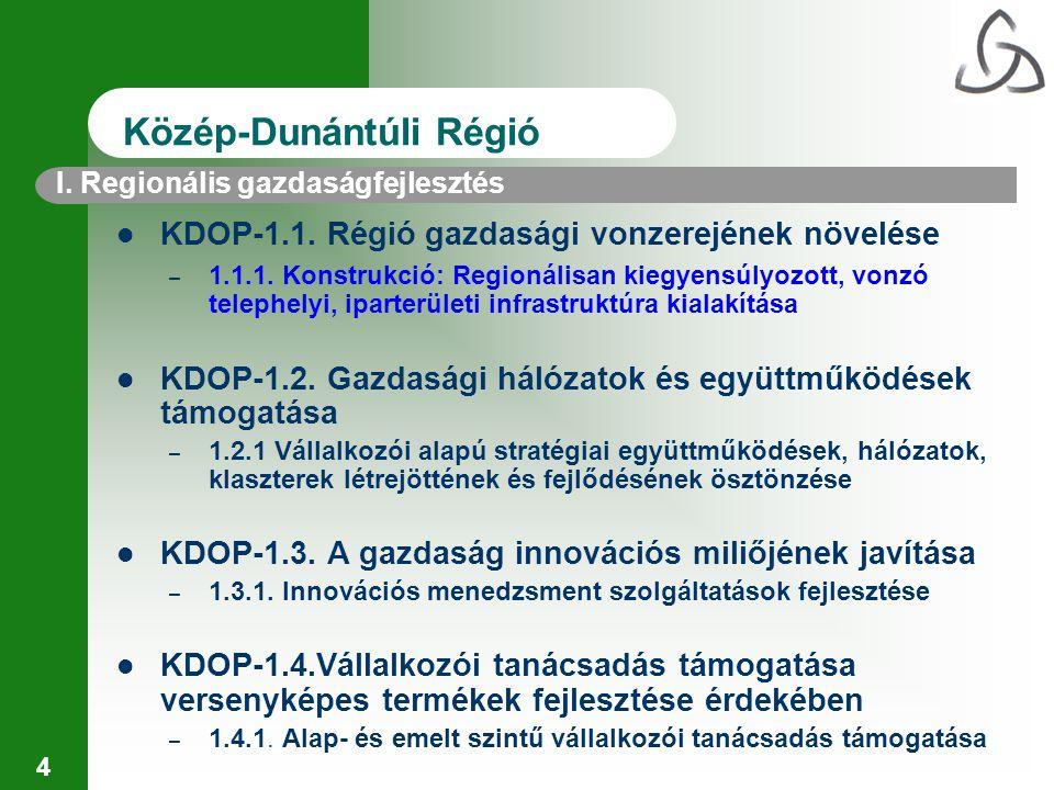 4 I. Regionális gazdaságfejlesztés Közép-Dunántúli Régió KDOP-1.1. Régió gazdasági vonzerejének növelése – 1.1.1. Konstrukció: Regionálisan kiegyensúl