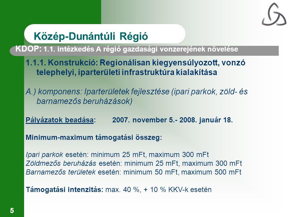 16 Közép-Dunántúli Régió Pályázatok beadása:2007.szeptember 25.