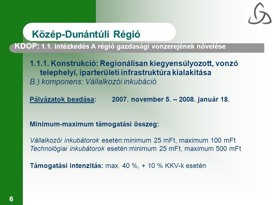 17 Közép-Dunántúli Régió Pályázatok beadása:2007.december 5.