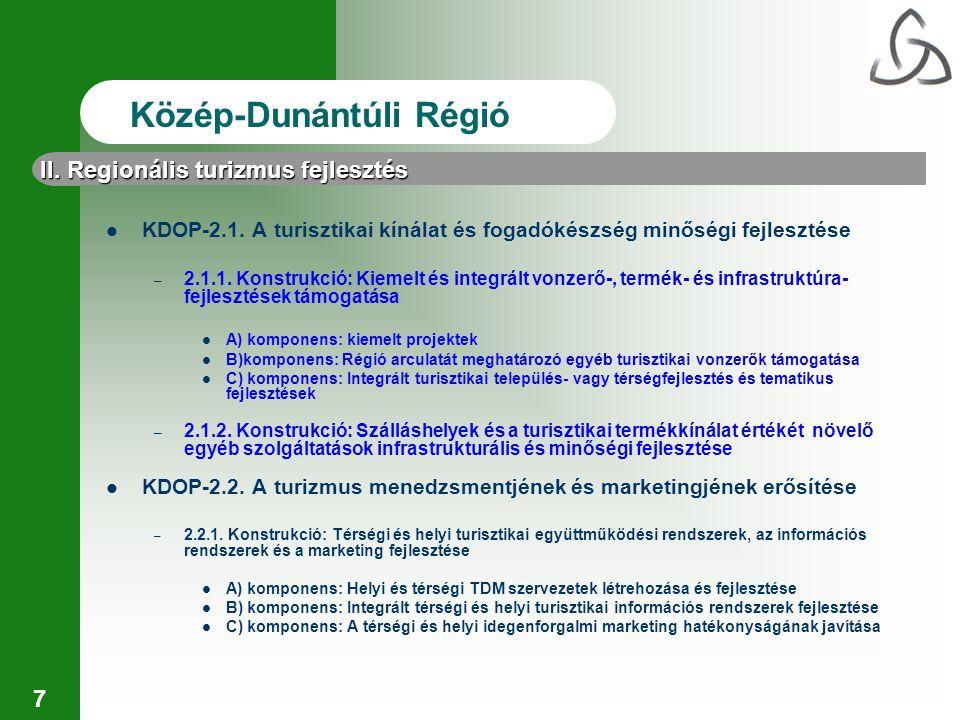 7 II. Regionális turizmus fejlesztés Közép-Dunántúli Régió KDOP-2.1. A turisztikai kínálat és fogadókészség minőségi fejlesztése – 2.1.1. Konstrukció: