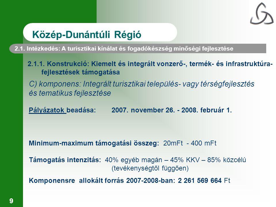 9 2.1.1. Konstrukció: Kiemelt és integrált vonzerő-, termék- és infrastruktúra- fejlesztések támogatása C) komponens: Integrált turisztikai település-