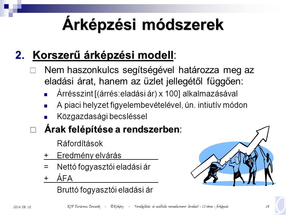 KJF Turizmus Tanszék - ©Kökény - Vendéglátás és szálloda menedzsment levelező - 13.téma - Árképzés16 2014.