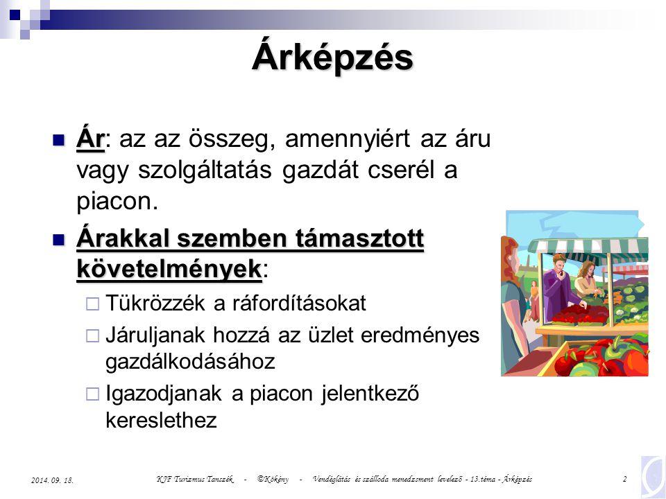 KJF Turizmus Tanszék - ©Kökény - Vendéglátás és szálloda menedzsment levelező - 13.téma - Árképzés23 2014.