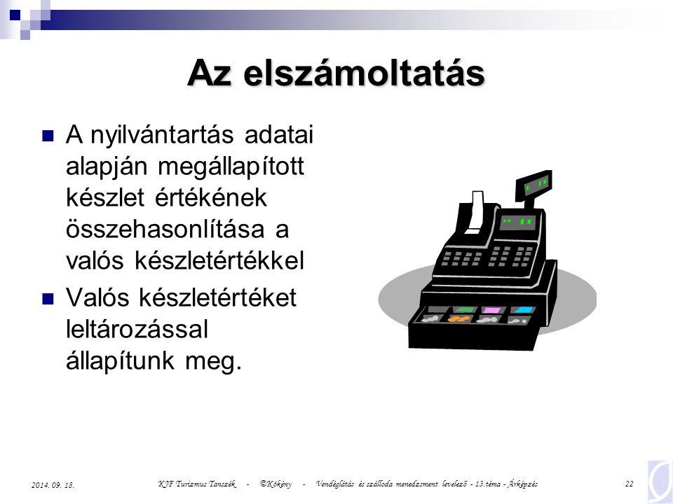 KJF Turizmus Tanszék - ©Kökény - Vendéglátás és szálloda menedzsment levelező - 13.téma - Árképzés22 2014.