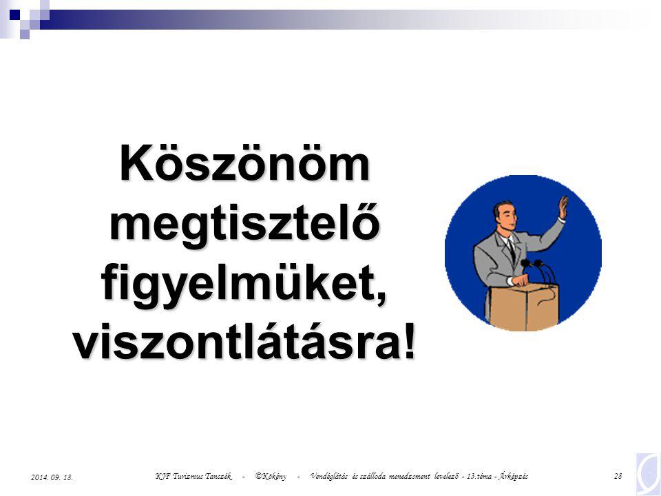 KJF Turizmus Tanszék - ©Kökény - Vendéglátás és szálloda menedzsment levelező - 13.téma - Árképzés28 2014.