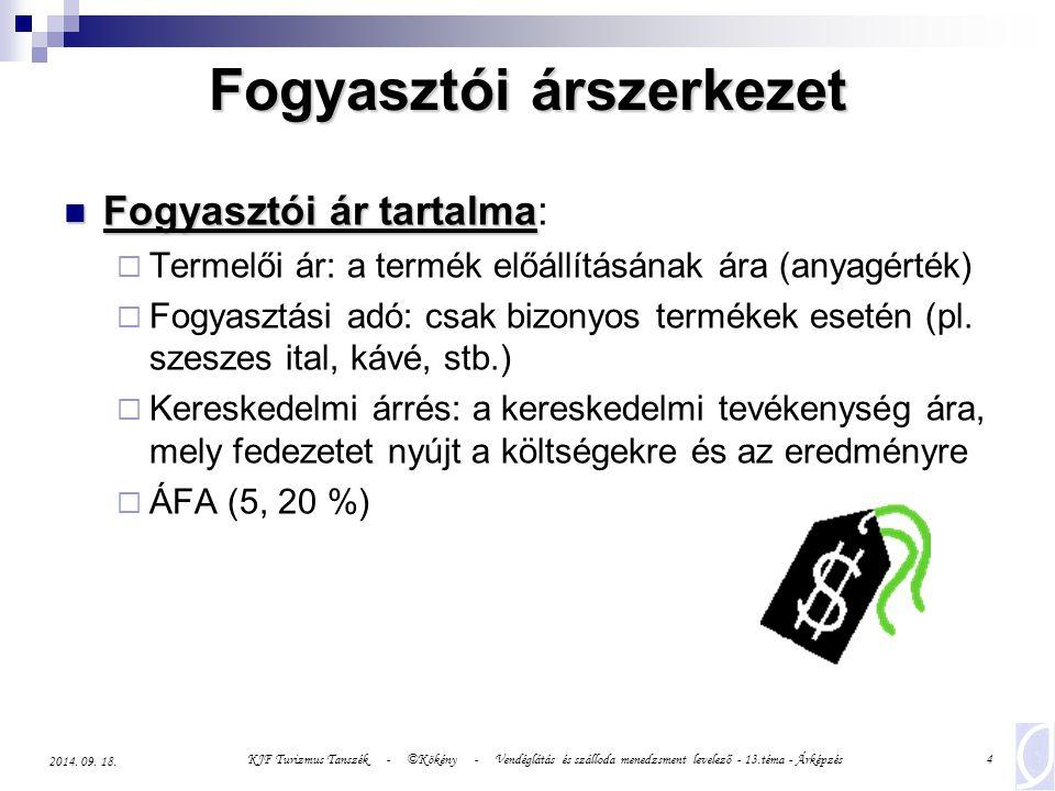 KJF Turizmus Tanszék - ©Kökény - Vendéglátás és szálloda menedzsment levelező - 13.téma - Árképzés5 2014.