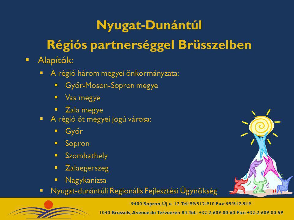 Célkitűzéseink  Nyugat-Dunántúl brüsszeli és európai érdekeinek megerősítése  Közvetlen kapcsolattartás a brüsszeli döntéshozókkal  Brüsszelben közvetlenül megpályázható források elérhetősége, gyors információ  Felkészülés a 2007-2013-as programozási időszakra, nyugat-dunántúli ROP  Nyugat-dunántúli tárgyalások, rendezvények, tanulmányutak szervezése és lebonyolítása