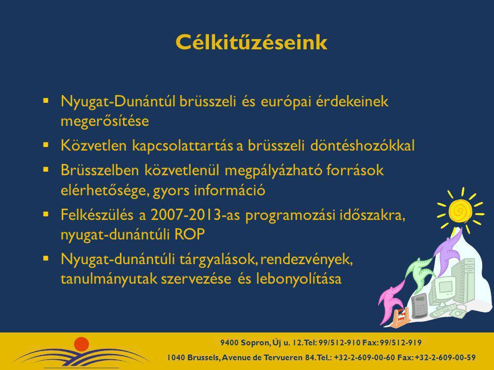 Célkitűzéseink  Nyugat-Dunántúl brüsszeli és európai érdekeinek megerősítése  Közvetlen kapcsolattartás a brüsszeli döntéshozókkal  Brüsszelben köz