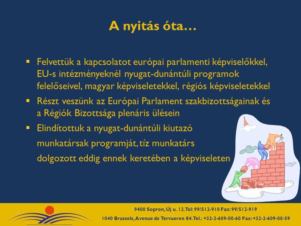 """ Figyeltük a pályázatokat, információs napokon vettünk részt  Elindítottuk és naponta frissítjük a www.westpa.hu honlap """"Brüsszeli iroda hírei menüpontot szakmai beszámolók, pályázati partnerkereső, hírlevelek, rendezvények, napi EP hírek az EP sajtószolgálatátólwww.westpa.hu  Brüsszeli irodák és régiók közötti hálózati együttműködésekben vettünk részt  Rendezvényeket, kiállításokat, tanulmányutakat szerveztünk, tárgyalódelegációkat fogadtunk Az elmúlt nyolc hónapban…"""
