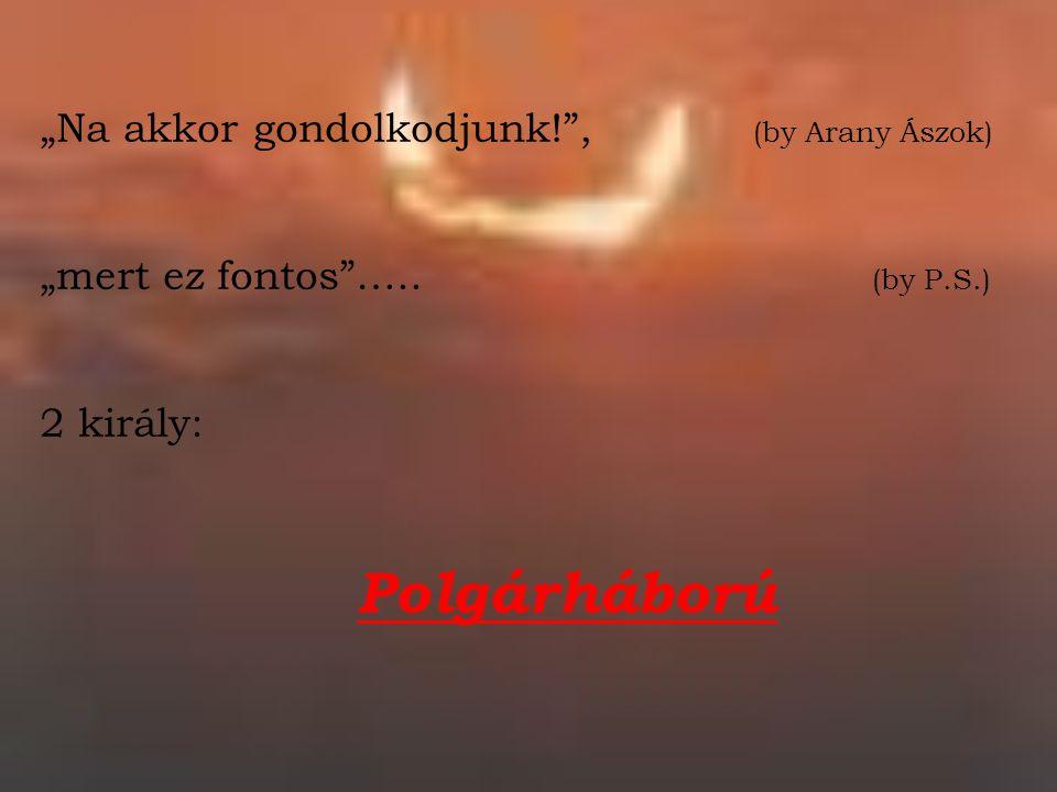 """""""Na akkor gondolkodjunk!"""", (by Arany Ászok) """"mert ez fontos""""….. (by P.S.) 2 király: Polgárháború"""