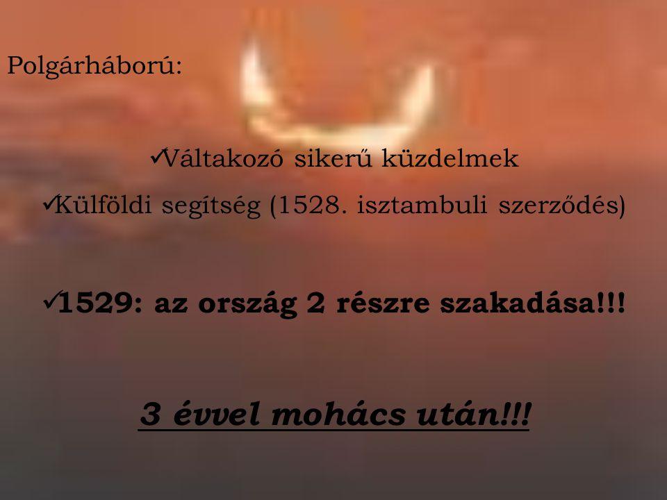 Polgárháború: Váltakozó sikerű küzdelmek Külföldi segítség (1528. isztambuli szerződés) 1529: az ország 2 részre szakadása!!! 3 évvel mohács után!!!