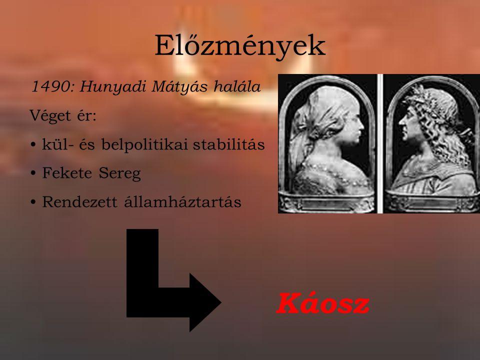 Előzmények 1490: Hunyadi Mátyás halála Véget ér: kül- és belpolitikai stabilitás Fekete Sereg Rendezett államháztartás Káosz