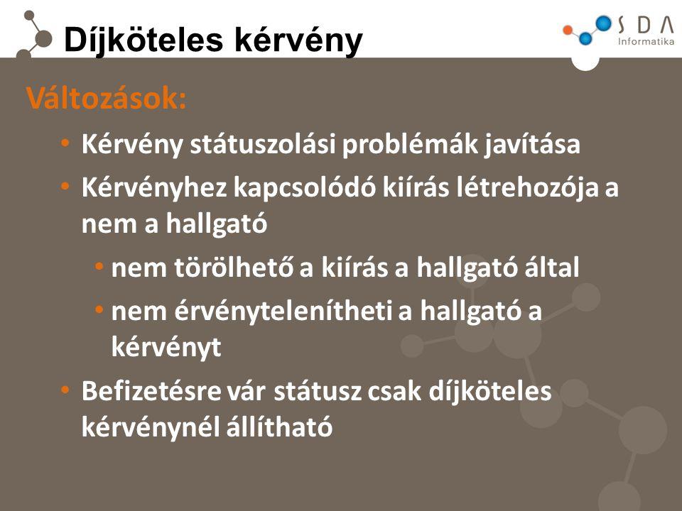 Díjköteles kérvény Változások: Kérvény státuszolási problémák javítása Kérvényhez kapcsolódó kiírás létrehozója a nem a hallgató nem törölhető a kiírá