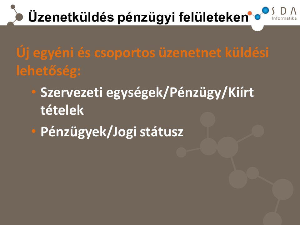 Üzenetküldés pénzügyi felületeken Új egyéni és csoportos üzenetnet küldési lehetőség: Szervezeti egységek/Pénzügy/Kiírt tételek Pénzügyek/Jogi státusz