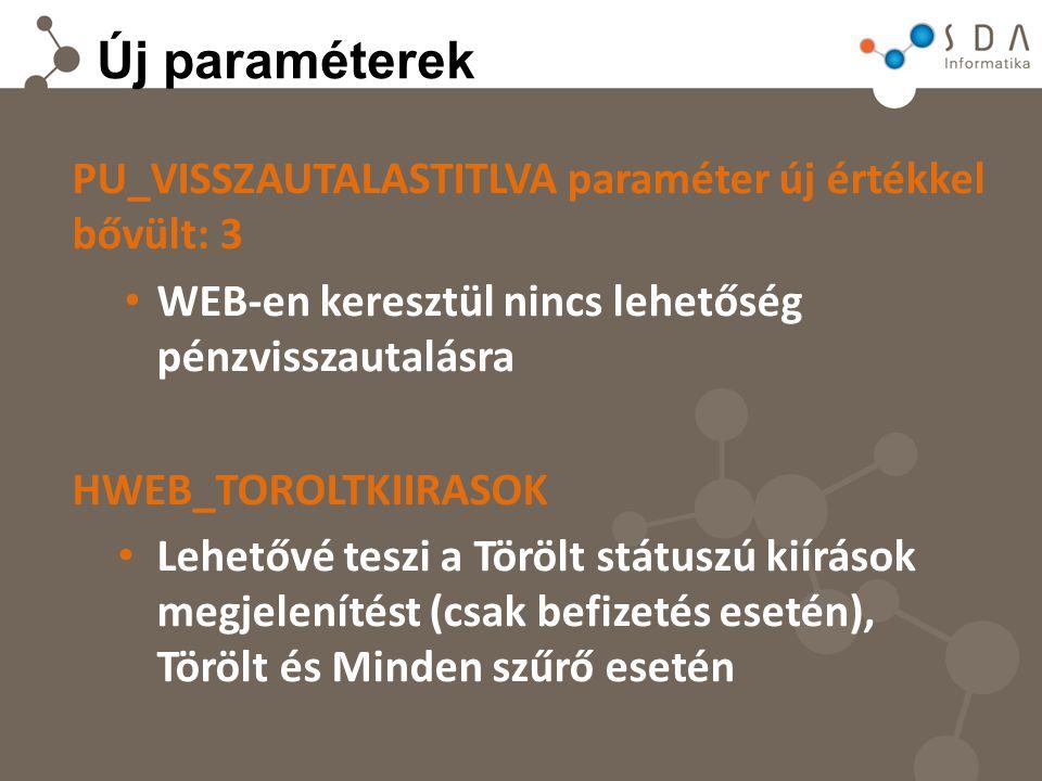 Új paraméterek PU_VISSZAUTALASTITLVA paraméter új értékkel bővült: 3 WEB-en keresztül nincs lehetőség pénzvisszautalásra HWEB_TOROLTKIIRASOK Lehetővé teszi a Törölt státuszú kiírások megjelenítést (csak befizetés esetén), Törölt és Minden szűrő esetén