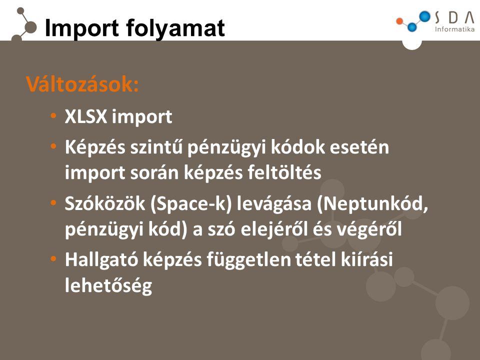 Import folyamat Változások: XLSX import Képzés szintű pénzügyi kódok esetén import során képzés feltöltés Szóközök (Space-k) levágása (Neptunkód, pénzügyi kód) a szó elejéről és végéről Hallgató képzés független tétel kiírási lehetőség