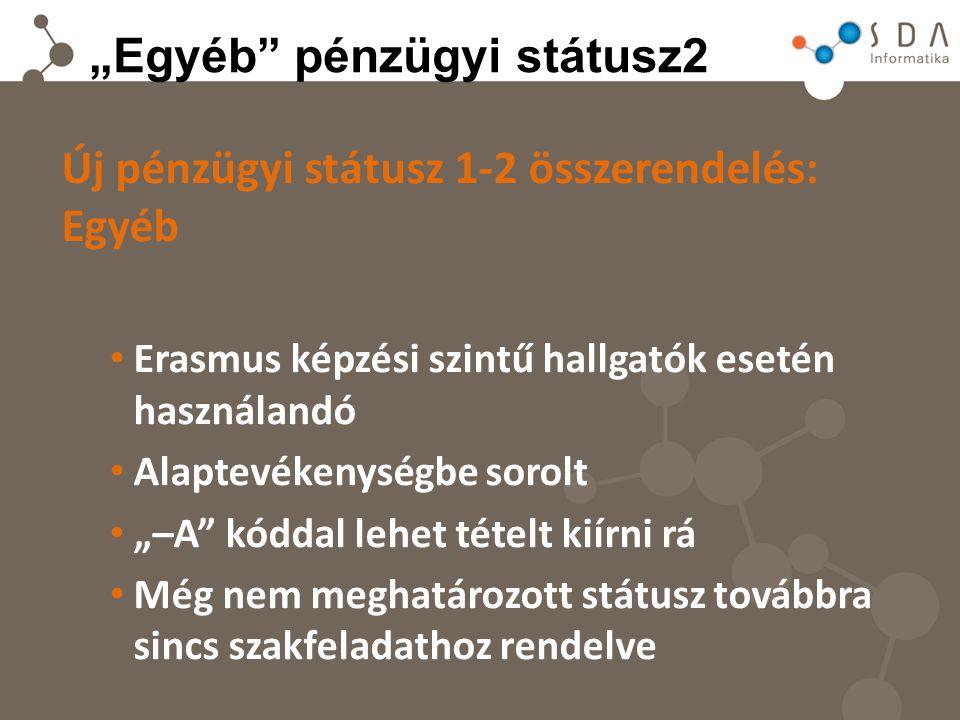 """""""Egyéb pénzügyi státusz2 Új pénzügyi státusz 1-2 összerendelés: Egyéb Erasmus képzési szintű hallgatók esetén használandó Alaptevékenységbe sorolt """"–A kóddal lehet tételt kiírni rá Még nem meghatározott státusz továbbra sincs szakfeladathoz rendelve"""