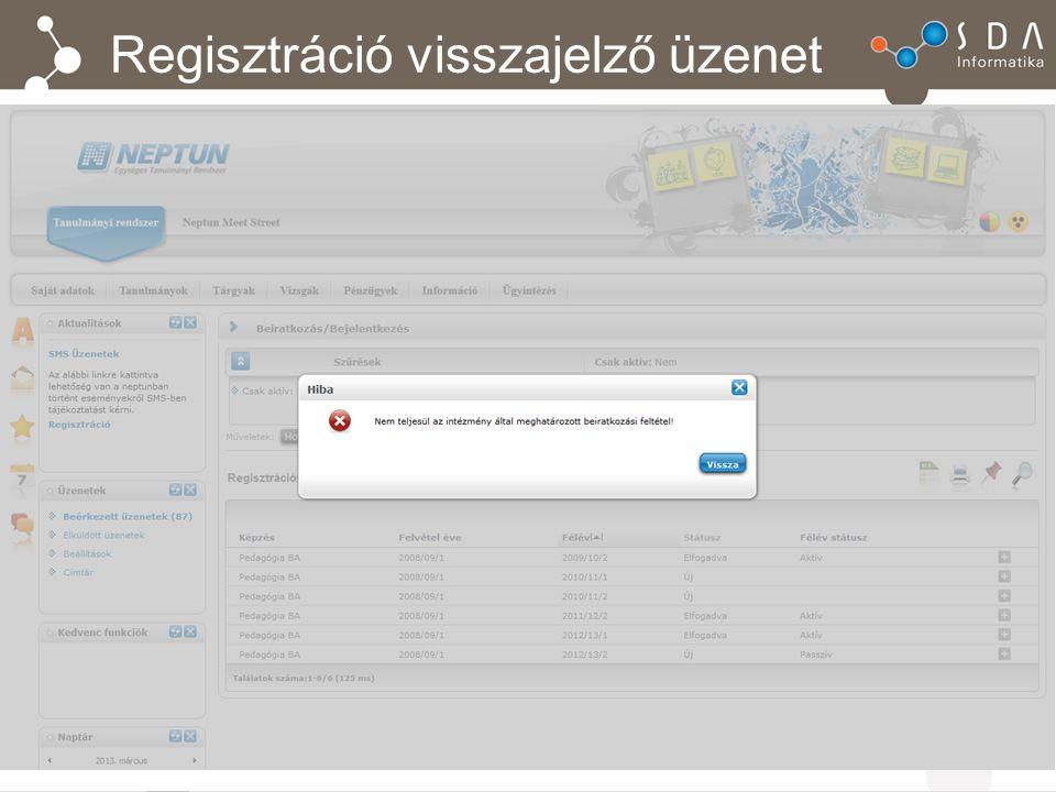 Regisztráció visszajelző üzenet