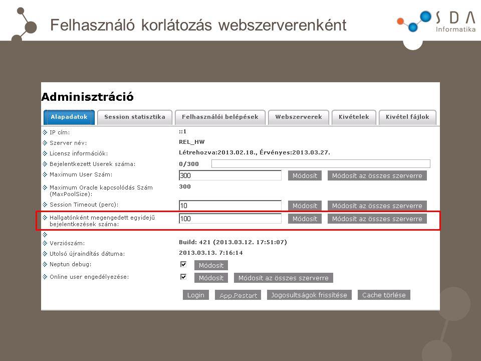 Felhasználó korlátozás webszerverenként