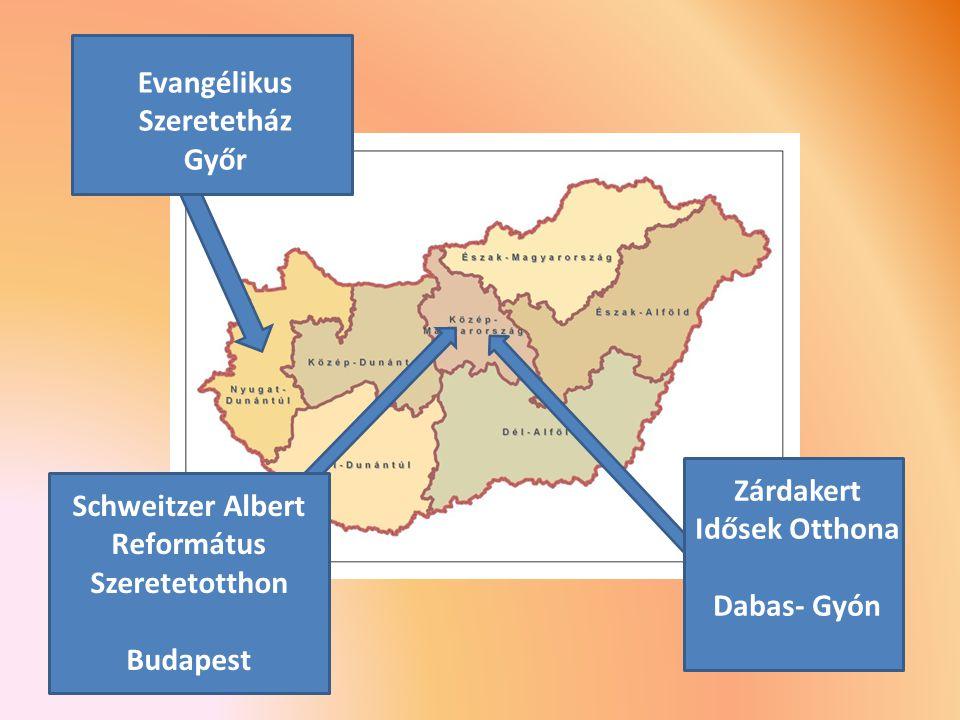 Zárdakert Idősek Otthona Dabas- Gyón Schweitzer Albert Református Szeretetotthon Budapest Evangélikus Szeretetház Győr