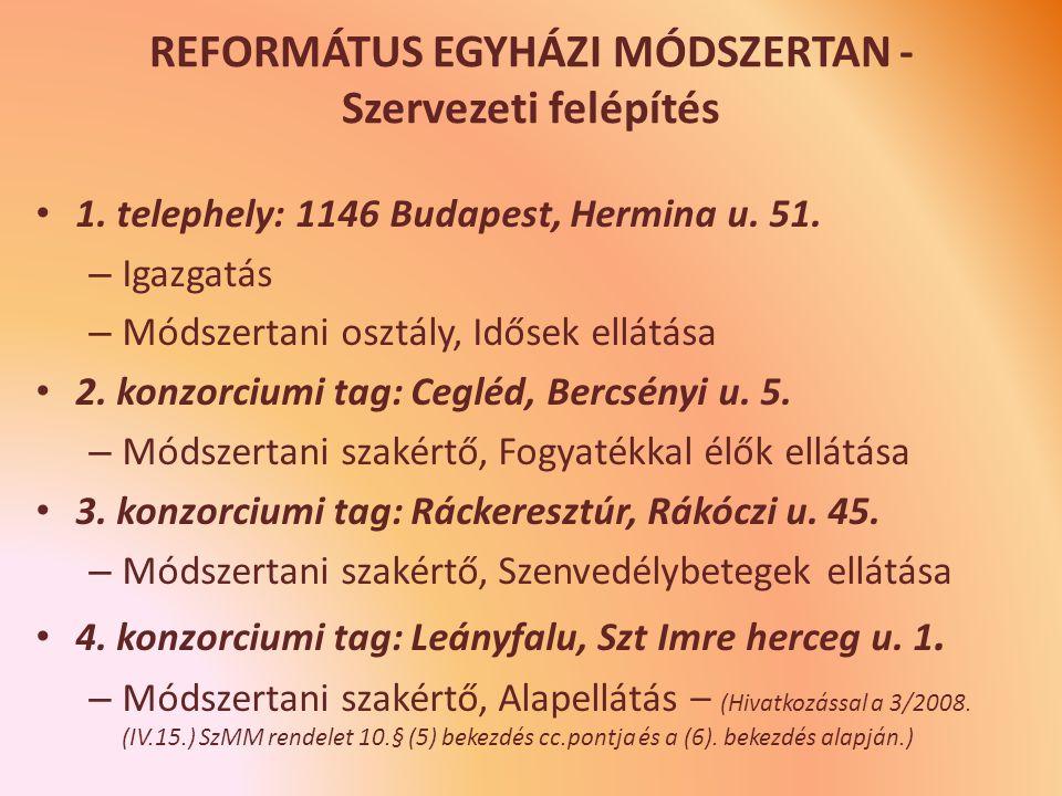 REFORMÁTUS EGYHÁZI MÓDSZERTAN - Szervezeti felépítés 1.
