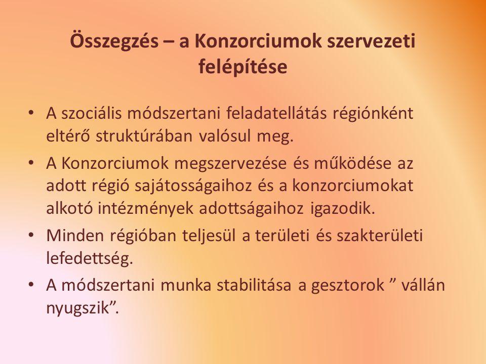 Összegzés – a Konzorciumok szervezeti felépítése A szociális módszertani feladatellátás régiónként eltérő struktúrában valósul meg.