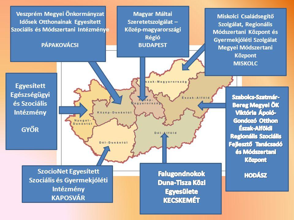 Magyar Máltai Szeretetszolgálat – Közép-magyarországi Régió BUDAPEST Veszprém Megyei Önkormányzat Idősek Otthonainak Egyesített Szociális és Módszertani Intézménye PÁPAKOVÁCSI Egyesített Egészségügyi és Szociális Intézmény GYŐR SzocioNet Egyesített Szociális és Gyermekjóléti Intézmény KAPOSVÁR Miskolci Családsegítő Szolgálat, Regionális Módszertani Központ és Gyermekjóléti Szolgálat Megyei Módszertani Központ MISKOLC