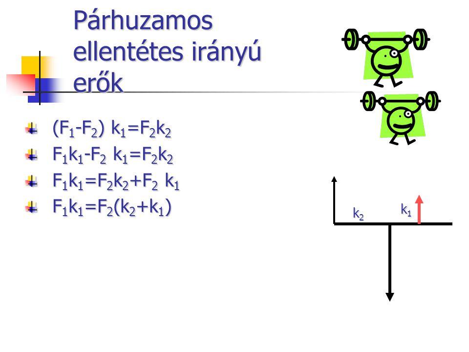 Párhuzamos ellentétes irányú erők (F 1 -F 2 ) k 1 =F 2 k 2 F 1 k 1 -F 2 k 1 =F 2 k 2 F 1 k 1 =F 2 k 2 +F 2 k 1 F 1 k 1 =F 2 (k 2 +k 1 ) k1k1k1k1 k2k2k2k2
