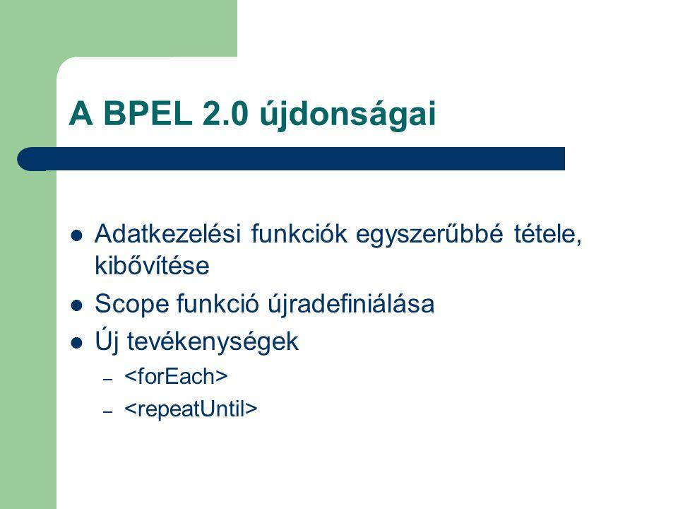 A BPEL 2.0 újdonságai Adatkezelési funkciók egyszerűbbé tétele, kibővítése Scope funkció újradefiniálása Új tevékenységek –