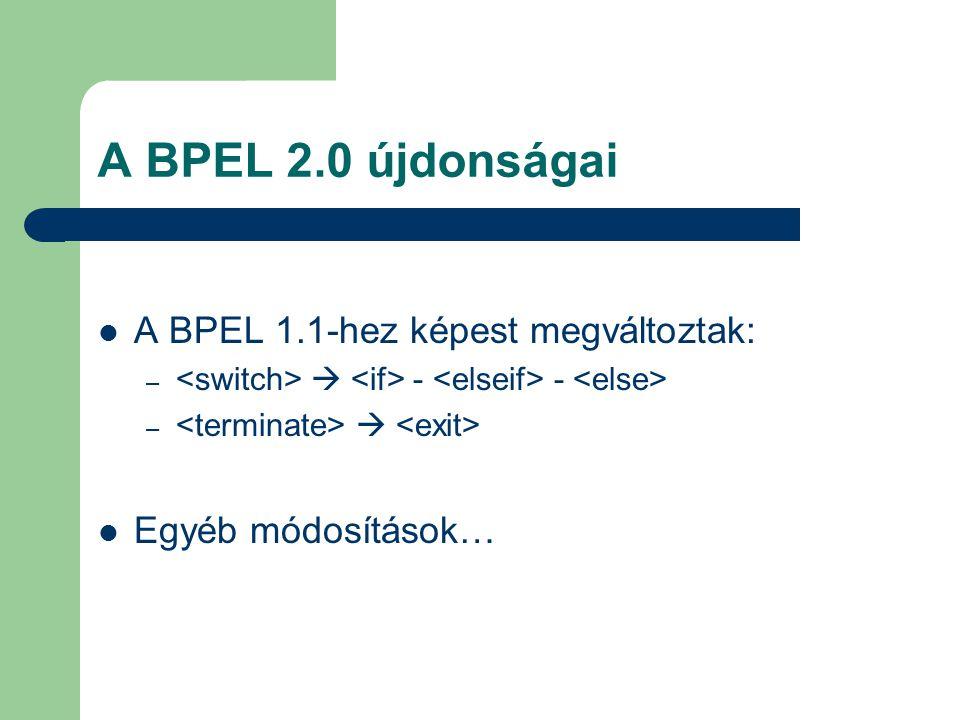 A BPEL 2.0 újdonságai A BPEL 1.1-hez képest megváltoztak: –  - - –  Egyéb módosítások…