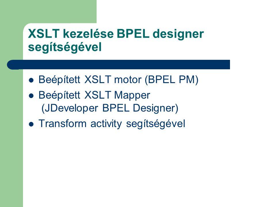 XSLT kezelése BPEL designer segítségével Beépített XSLT motor (BPEL PM) Beépített XSLT Mapper (JDeveloper BPEL Designer) Transform activity segítségével