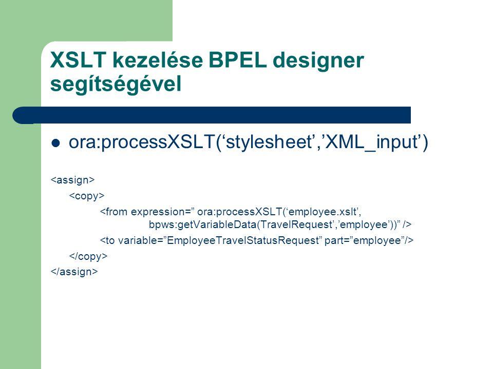 XSLT kezelése BPEL designer segítségével ora:processXSLT('stylesheet','XML_input')