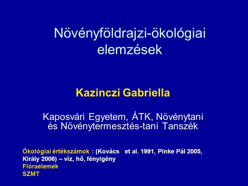 Növényföldrajzi-ökológiai elemzések Kazinczi Gabriella Kaposvári Egyetem, ÁTK, Növénytani és Növénytermesztés-tani Tanszék Ökológiai értékszámok : (Ko