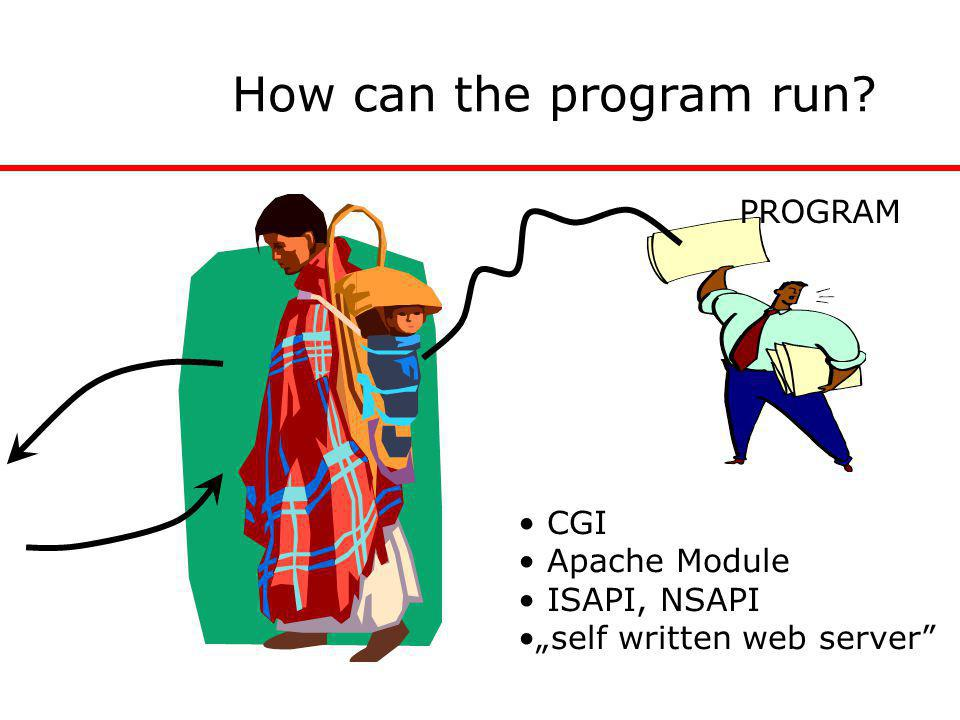 "How can the program run? PROGRAM CGI Apache Module ISAPI, NSAPI ""self written web server"""