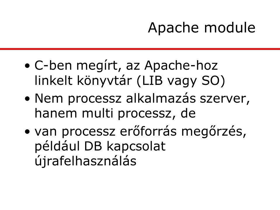Apache module C-ben megírt, az Apache-hoz linkelt könyvtár (LIB vagy SO) Nem processz alkalmazás szerver, hanem multi processz, de van processz erőforrás megőrzés, például DB kapcsolat újrafelhasználás