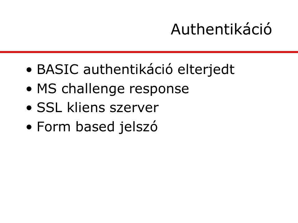 Authentikáció BASIC authentikáció elterjedt MS challenge response SSL kliens szerver Form based jelszó