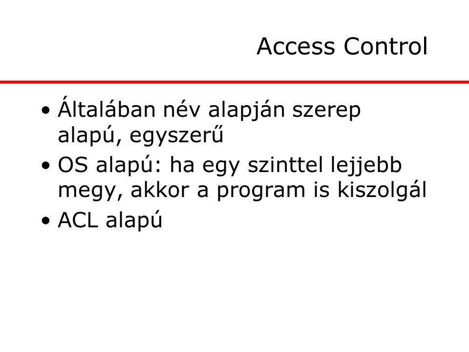 Access Control Általában név alapján szerep alapú, egyszerű OS alapú: ha egy szinttel lejjebb megy, akkor a program is kiszolgál ACL alapú