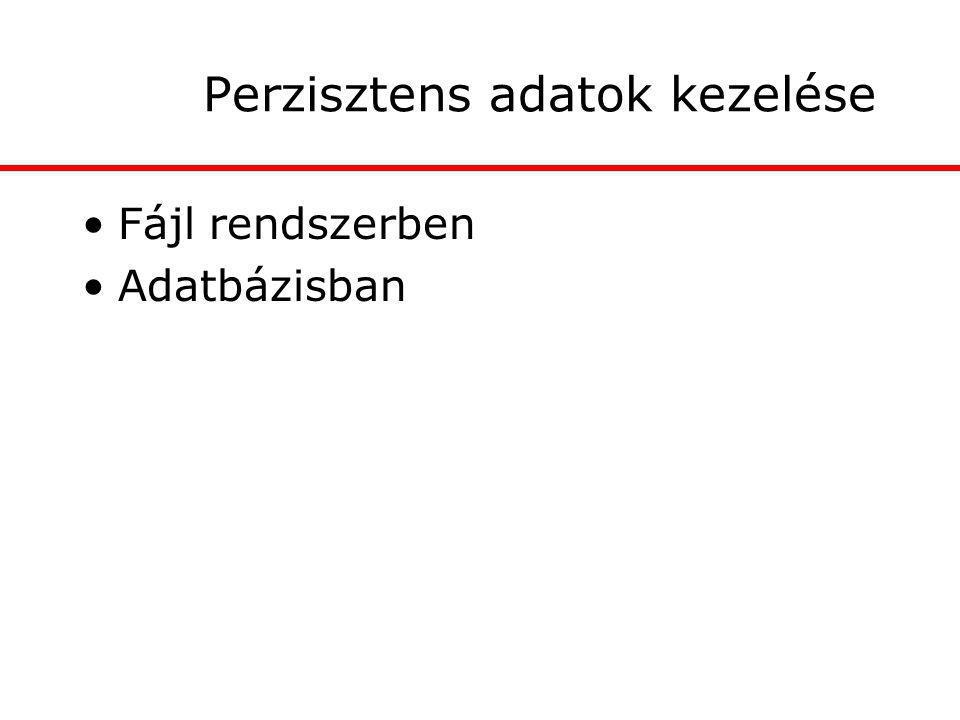 Perzisztens adatok kezelése Fájl rendszerben Adatbázisban