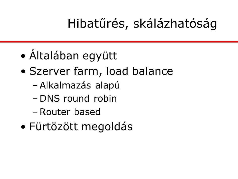 Hibatűrés, skálázhatóság Általában együtt Szerver farm, load balance –Alkalmazás alapú –DNS round robin –Router based Fürtözött megoldás