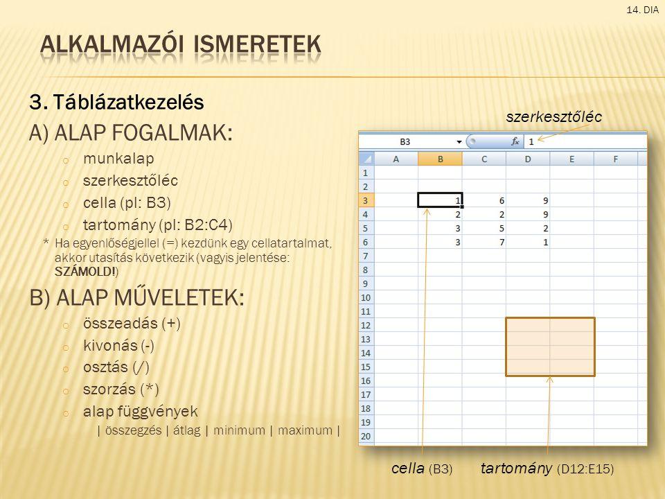 3. Táblázatkezelés A) ALAP FOGALMAK: o munkalap o szerkesztőléc o cella (pl: B3) o tartomány (pl: B2:C4) *Ha egyenlőségjellel (=) kezdünk egy cellatar