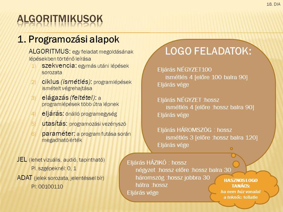 1. Programozási alapok ALGORITMUS: egy feladat megoldásának lépésekben történő leírása 1) szekvencia: egymás utáni lépések sorozata 2) ciklus (ismétlé