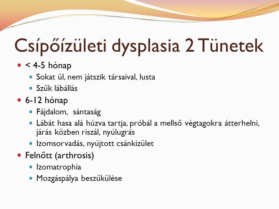 Csípőízületi dysplasia 2 Tünetek < 4-5 hónap Sokat ül, nem játszik társaival, lusta Szűk lábállás 6-12 hónap Fájdalom, sántaság Lábát hasa alá húzva t
